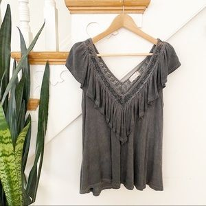Altar'd State charcoal gray lace and ruffle blouse